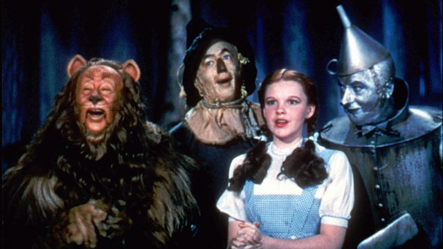 Bert Lahr, Ray Bolger, Judy Garland and Jack Haley star in Victor Fleming's 1939 classic The Wizard of Oz.