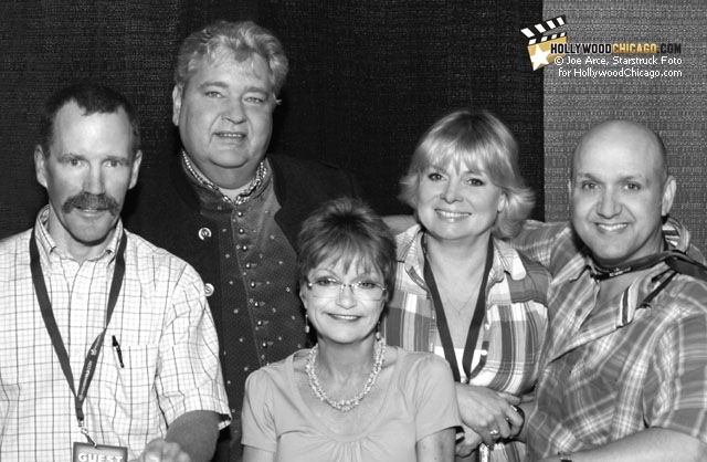 The Kids of Willy Wonka, L-R: Peter Ostrum, Michael Bollner (Augustus), Denise Nickerson (Violet), Julie Dawn Cole (Veruca) and Paris Themmen (Mike Teevee) at the Chicago Wizard World Comic Con, August 2011