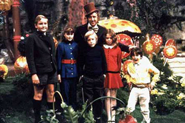 The Kids Pose with Willy Wonka (Gene Wilder)