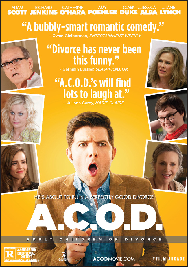 The movie poster for A.C.O.D. starring Adam Scott and Amy Poehler