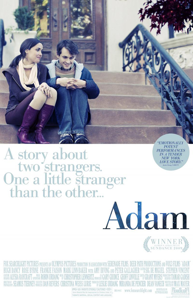 The movie poster for Adam with Hugh Dancy and Rose Byrne