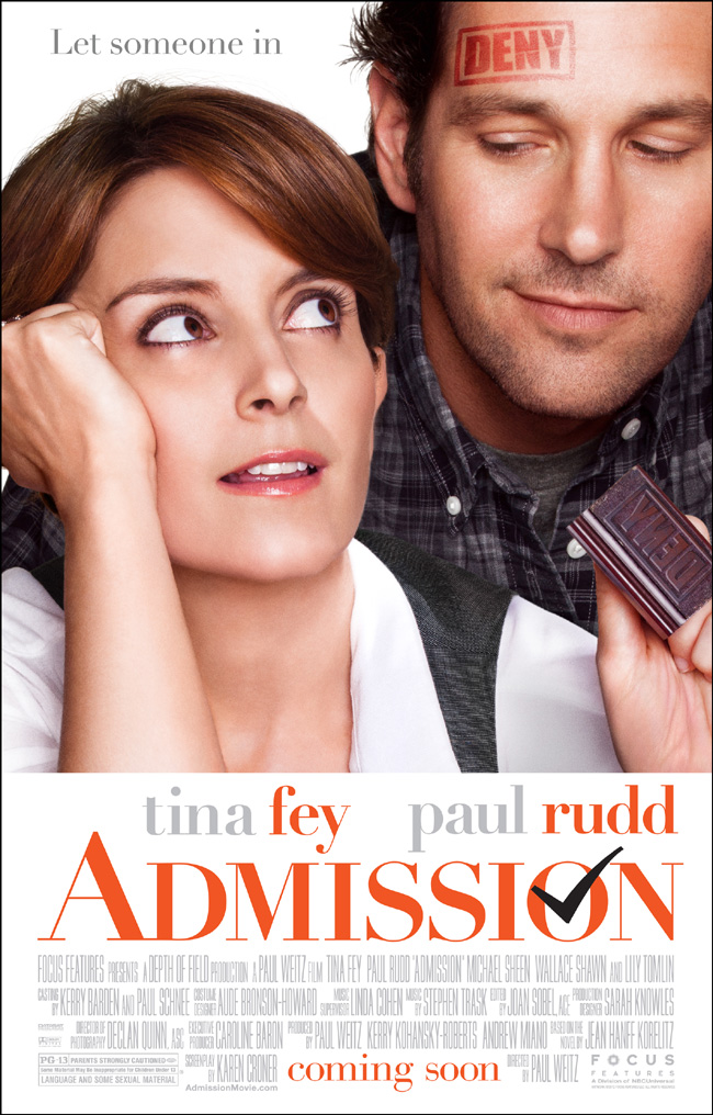The movie poster for Admission starring Tina Fey and Paul Rudd