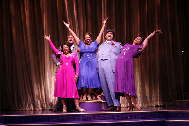 Left to right in the Chicago production of Ain't Misbehavin': Alexis Rogers, Parrish Collier, E. Faye Butler, John Steven Crowley and Lina Kernan