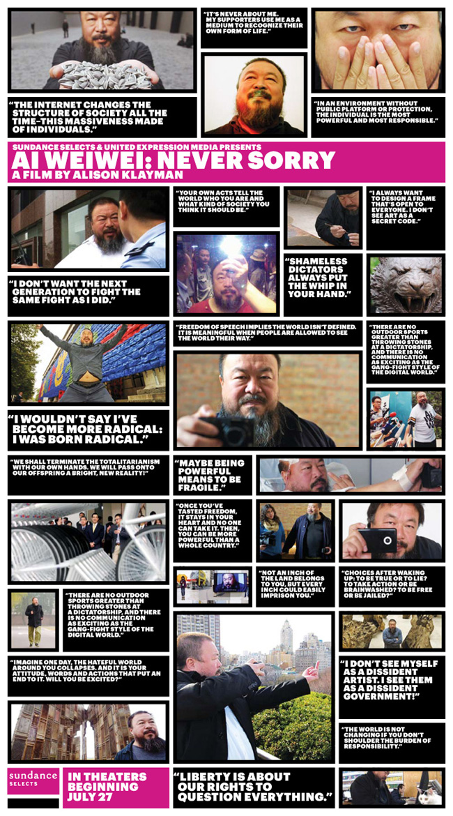 The Ai Weiwei: Never Sorry movie poster