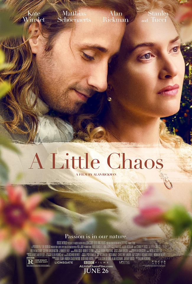 The movie poster for A Little Chaos starring Kate Winslet from Alan Rickman