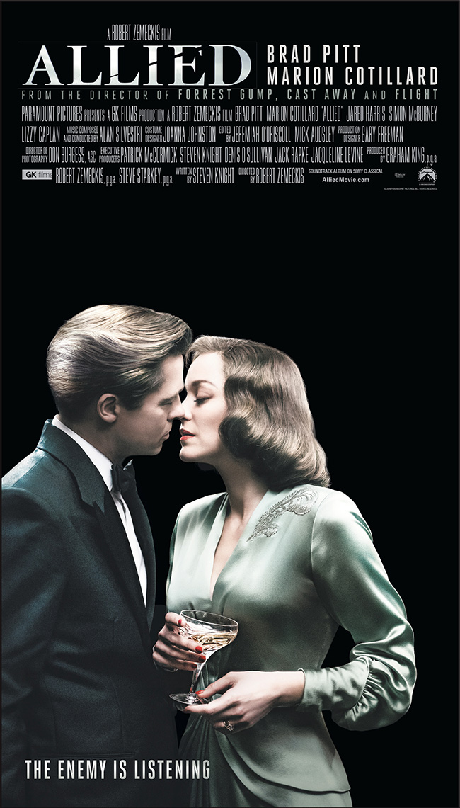 The movie poster for Allied starring Brad Pitt and Marion Cotillard