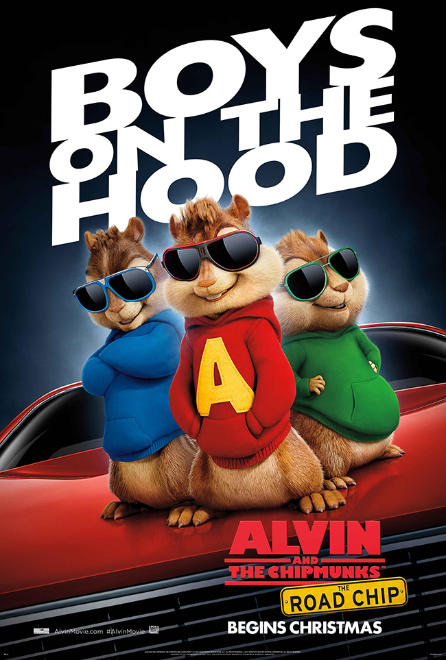 The movie poster for Alvin and the Chipmunks: The Road Chip starring Kaley Cuoco and Jason Lee