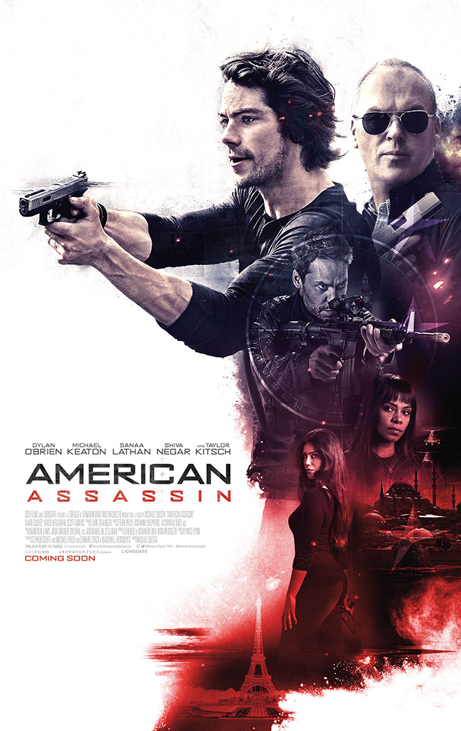 The movie poster for American Assassin starring Michael Keaton