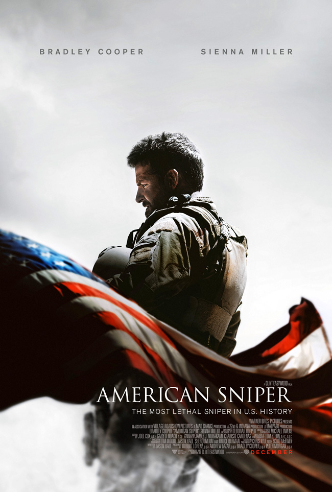 The movie poster for American Sniper starring Bradley Cooper from director Clint Eastwood