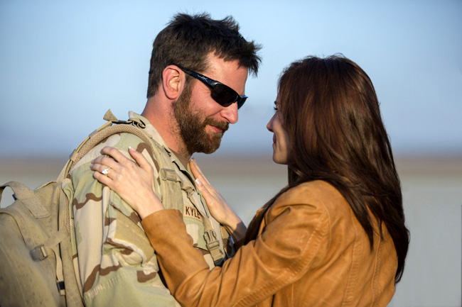 Brad Cooper and Sienna Miller in American Sniper
