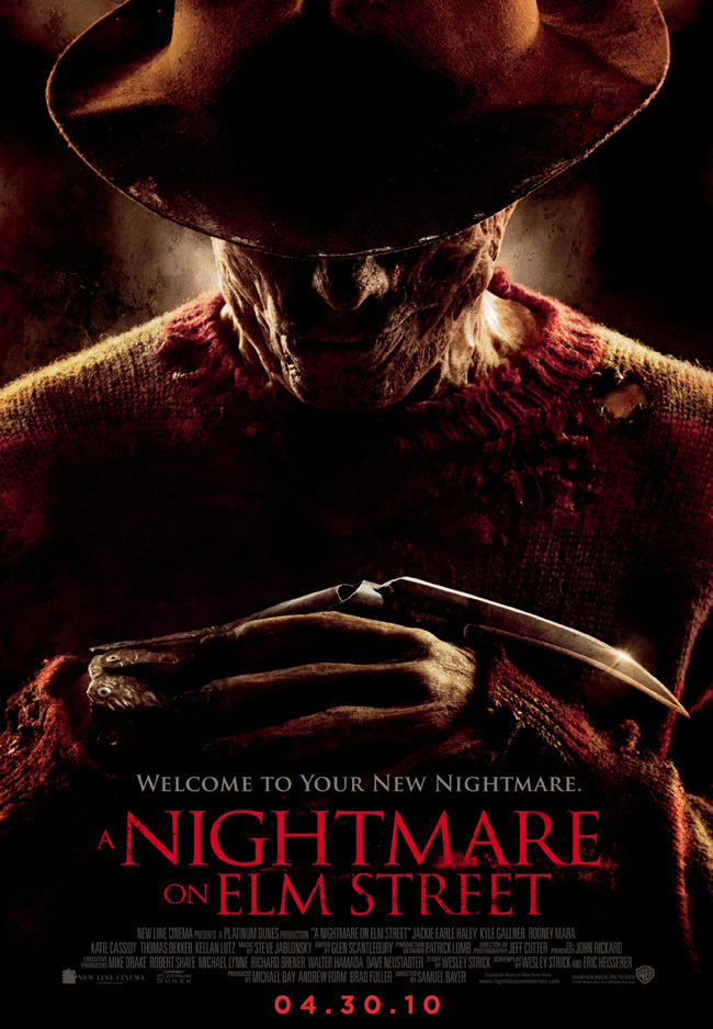 The movie poster for A Nightmare on Elm Street with Jackie Earle Haley