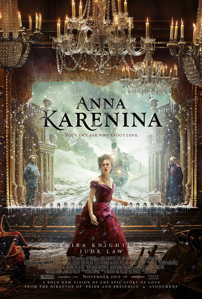 The movie poster for Anna Karenina starring Keira Knightley and Jude Law