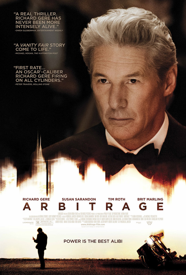 The movie poster for Arbitrage starring Richard Gere, Susan Sarandon and Tim Roth