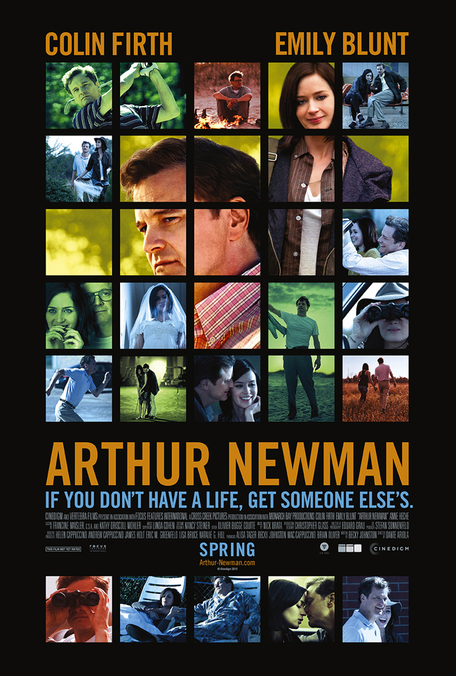 The movie poster for Arthur Newman starring Colin Firth and Emily Blunt