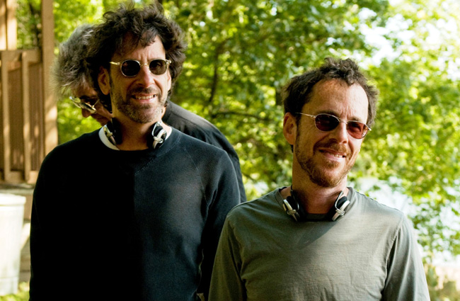 Joel Coen and Ethan Coen on the set of their A Serious Man