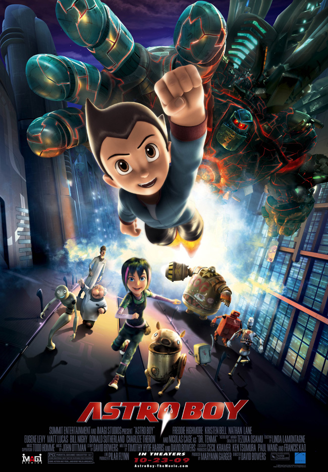 Astro Boy features the voices of Kristen Bell, Nicolas Cage, Charlize Theron and Samuel L. Jackson