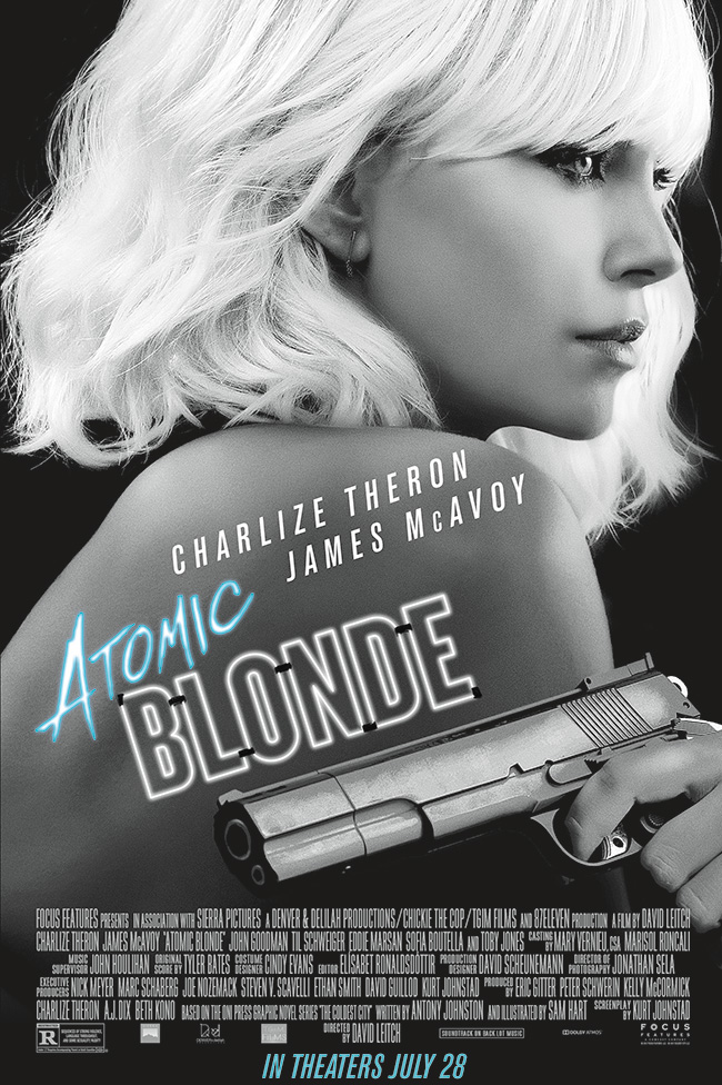 The movie poster for Atomic Blonde starring Charlize Theron