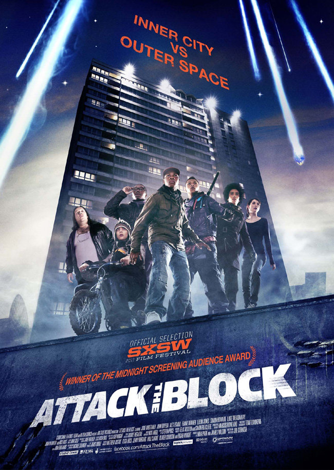 The movie poster for Attack the Block from the producer of Shaun of the Dead and Hot Fuzz