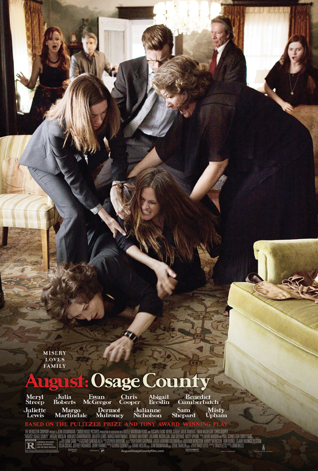 The movie poster for August: Osage County starring Meryl Streep and Julia Roberts from Tracy Letts
