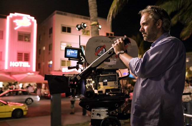 Director Sam Mendes on the set of his new film Away We Go