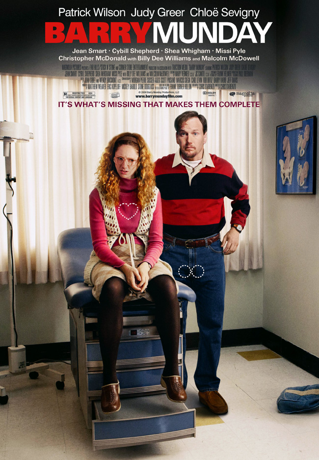 The movie poster for Barry Munday with Patrick Wilson, Judy Greer and Chloe Sevigny