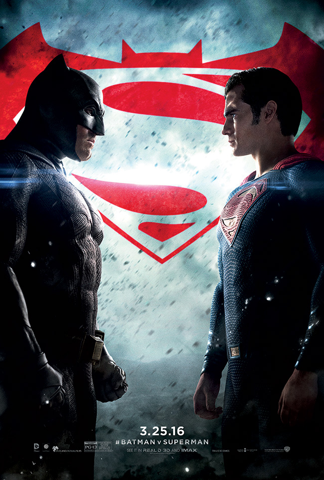 The movie poster for Batman v Superman: Dawn of Justice starring Ben Affleck and Henry Cavill