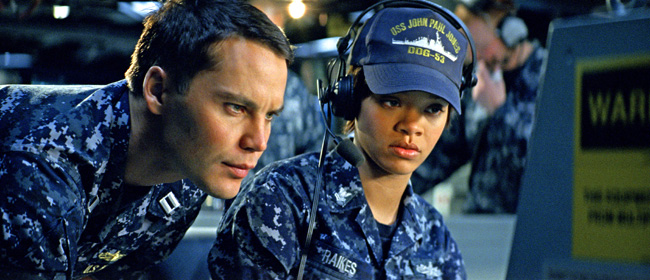 Taylor Kitsch and Rihanna try to decipher a strange reading in Battleship