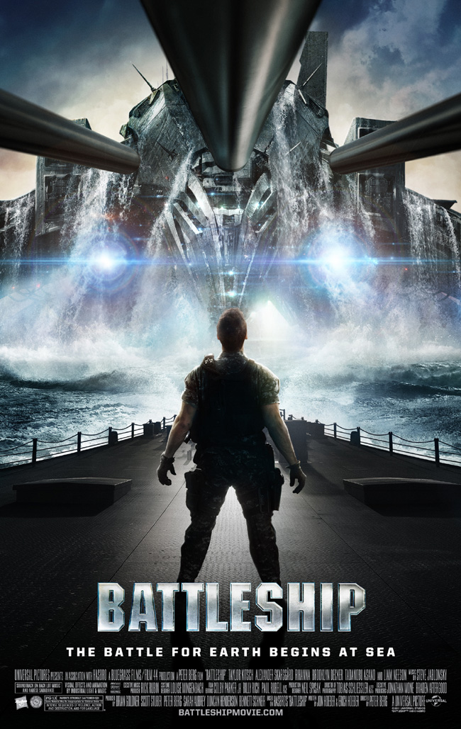 The movie poster for Battleship from Hancock director Peter Berg