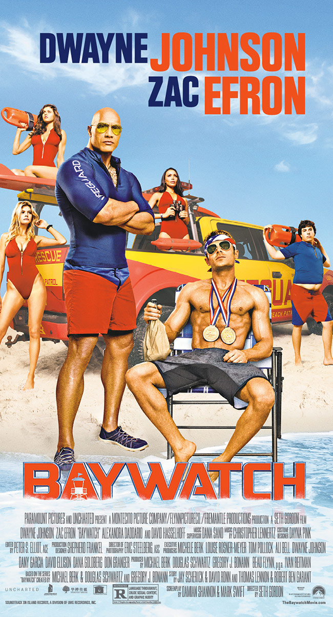 The movie poster for Baywatch starring Dwayne Johnson and Zac Efron