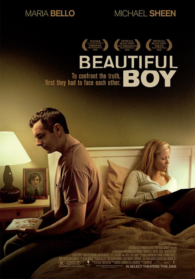 The movie poster for Beautiful Boy with Oscar nominee Michael Sheen and Maria Bello
