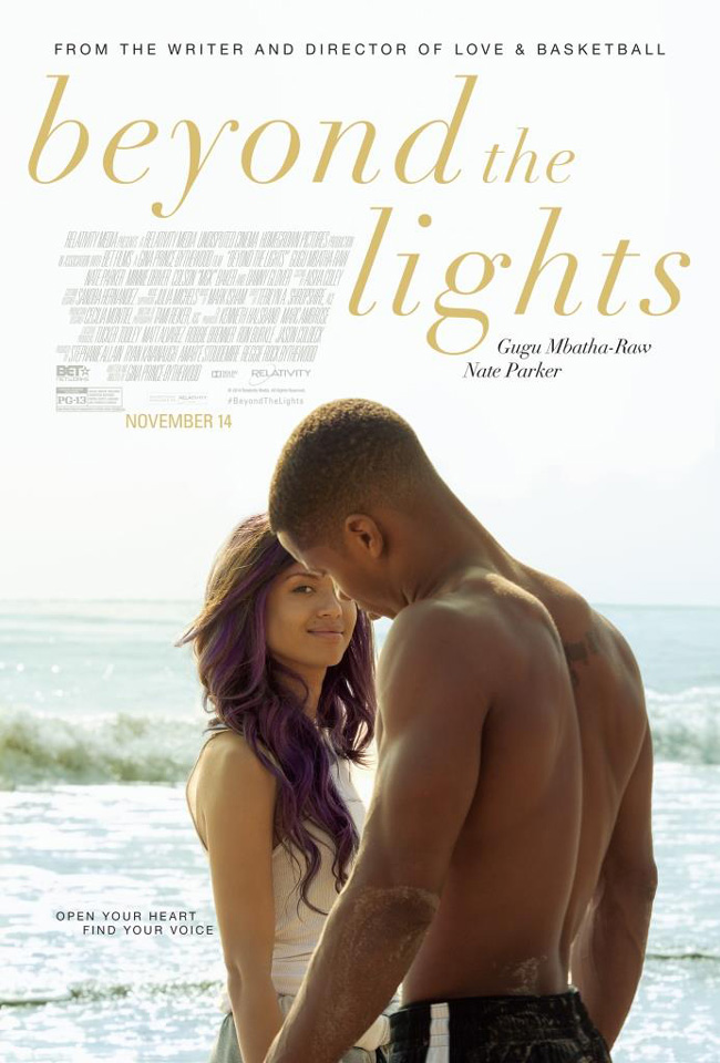 The movie poster for Beyond the Lights starring Gugu Mbatha-Raw and Nate Parker