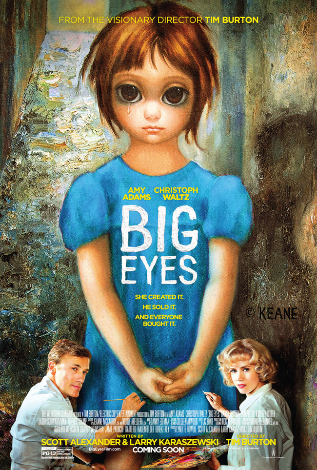 The movie poster for Big Eyes with Christoph Waltz and Amy Adams from Tim Burton
