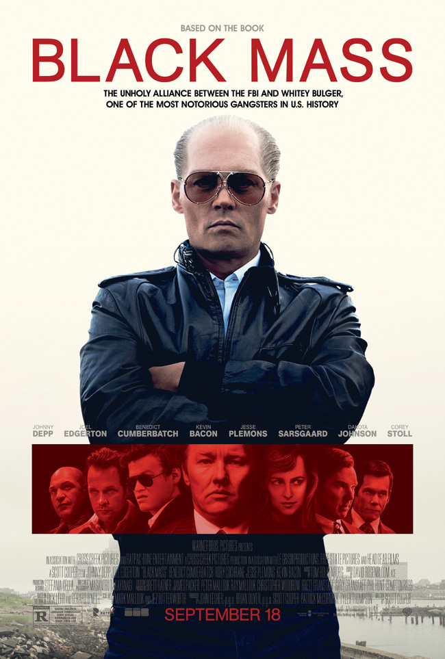 The movie poster for Black Mass starring Johnny Depp and Benedict Cumberbatch