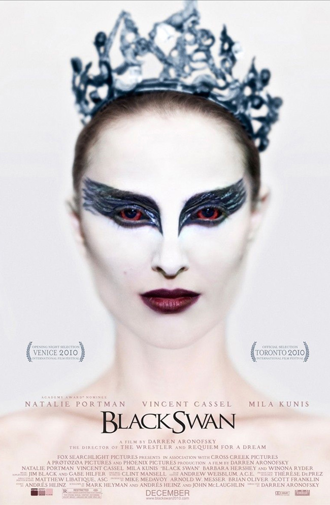 The movie poster for Black Swan with Natalie Portman and Mila Kunis
