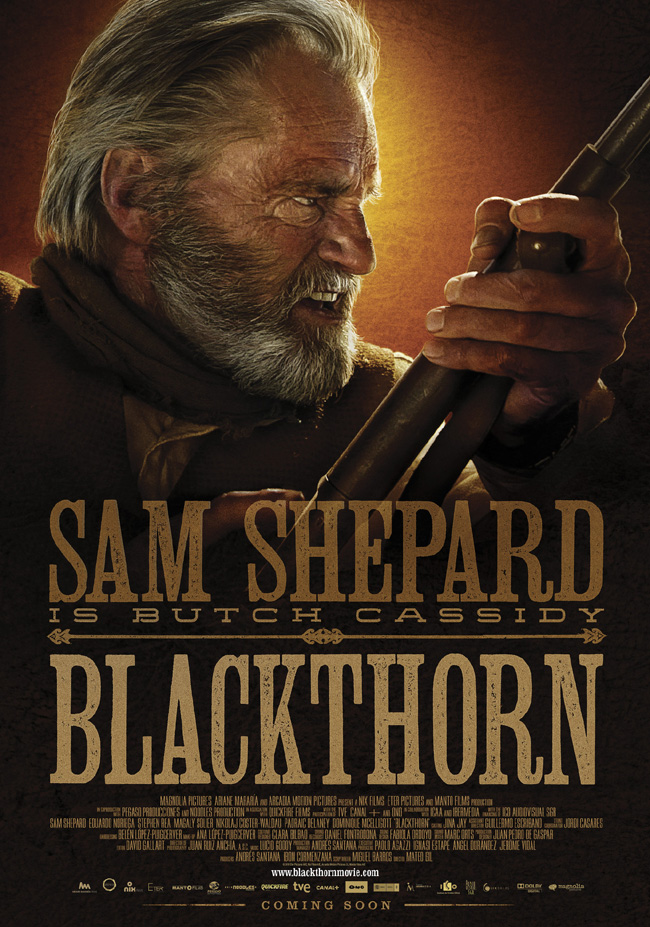 The movie poster for Blackthorn starring Sam Shepard as Butch Cassidy