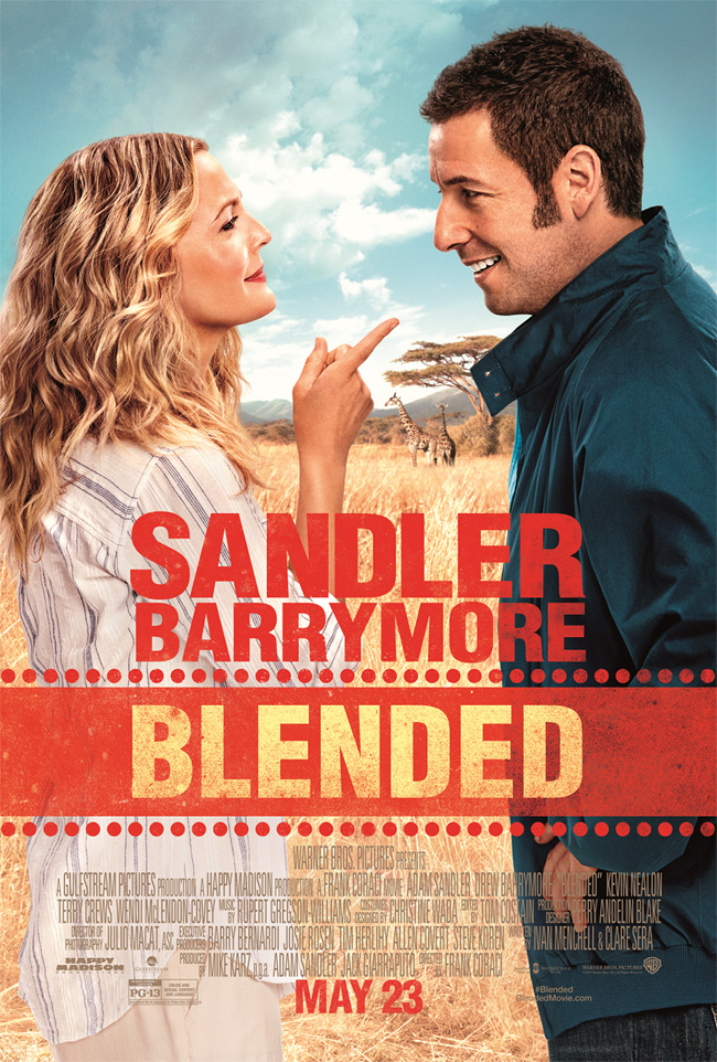 The movie poster for Blended starring Adam Sandler and Drew Barrymore