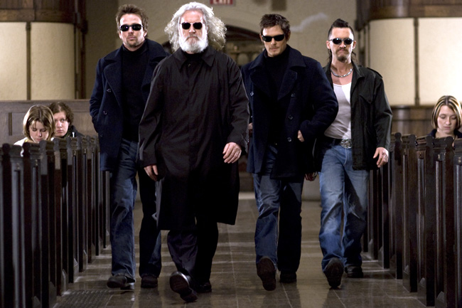 Left to right: Sean Patrick Flanery, Billy Connolly, Norman Reedus and Clifton Collins Jr. in The Boondock Saints II: All Saints Day