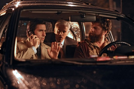 Episode 106 Scene 08: Jonathan, Ray and George wait in Leah's car. They are watching Sophia's motel room.