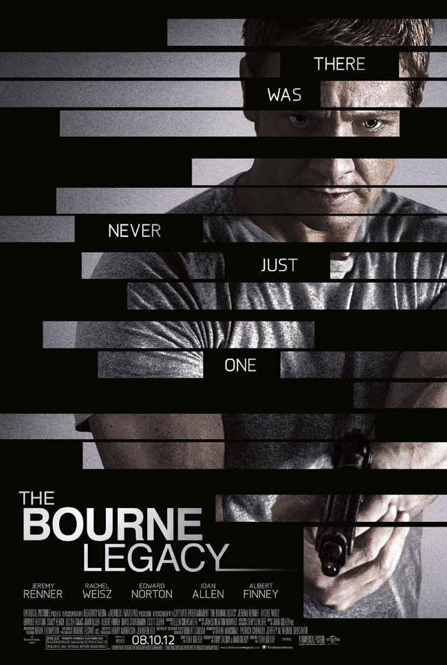 The Bourne Legacy movie poster with Jeremy Renner, Rachel Weisz and Edward Norton