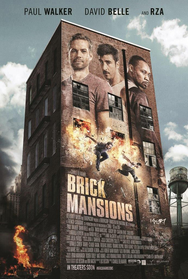 The movie poster for Brick Mansions starring Paul Walker, RZA and David Belle