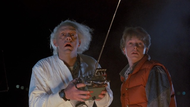 Christopher Lloyd and Michael J. Fox star in Robert Zemeckis's Back to the Future.