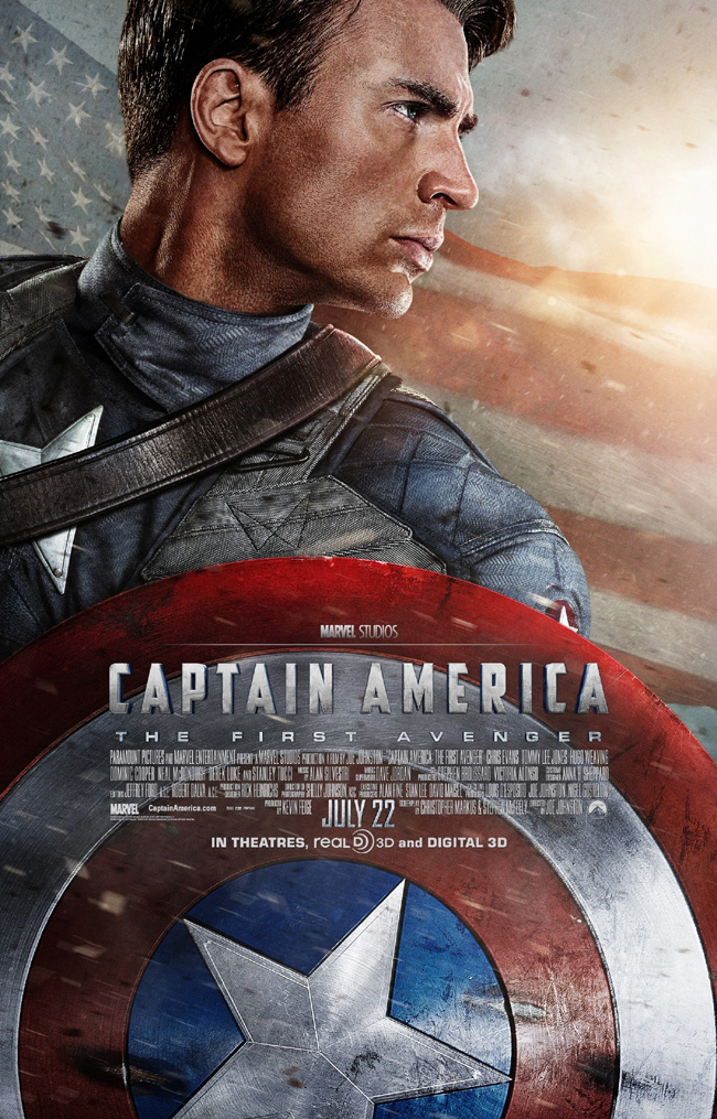 The movie poster for Captain America: The First Avenger with Chris Evans