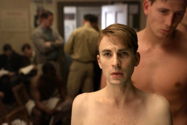 Chris Evans as Steve Rogers (Skinny Steve) in Captain America: The First Avenger