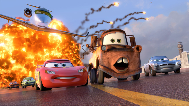 Owen Wilson voices Lightning McQueen, Larry the Cable Guy voices Mater and Michael Caine voices Finn McMissile in Cars 2