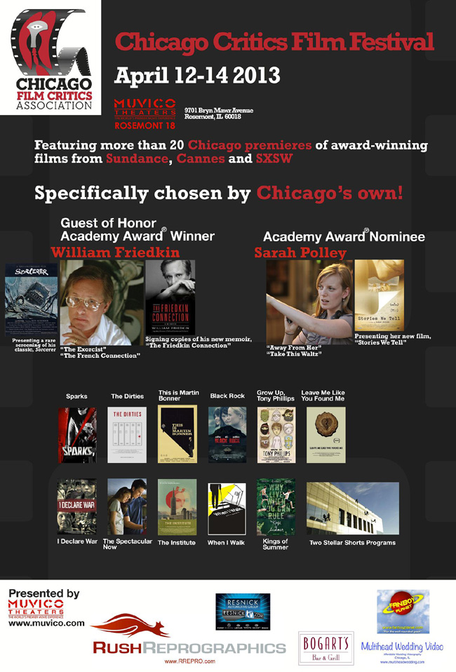 The event poster for the 2013 Chicago Critics Film Festival