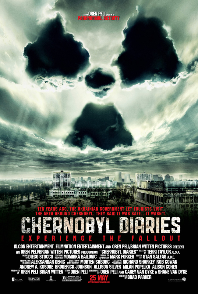 The movie poster for Chernobyl Diaries from Paranormal Activity creator Oren Peli
