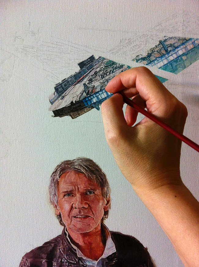 Ciara McAvoy's sketch of the Millennium Falcon for Star Wars: Episode VII - The Force Awakens