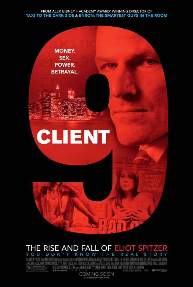 The movie poster for Client 9: The Rise and Fall of Eliot Spitzer from director Alex Gibney