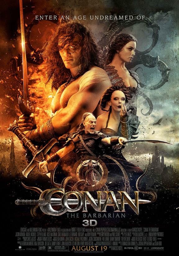 The movie poster for Conan the Barbarian in 3D with Jason Momoa, Ron Perlman and Rose McGowan