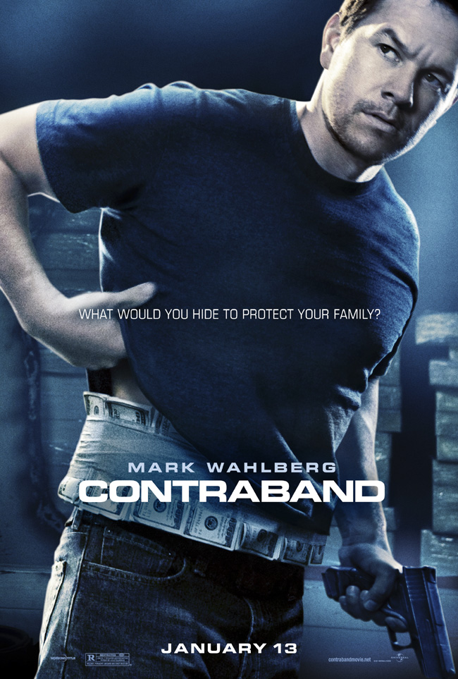 The movie poster for Contraband with Mark Wahlberg and Kate Beckinsale
